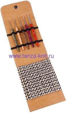 Lana Grossa Набор LG крючков Signal, с цветной деревянной ручкой, замша бежевый (фото)