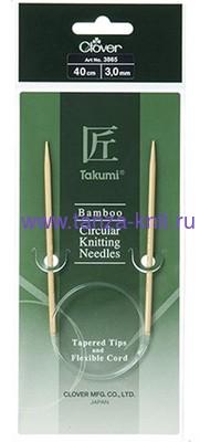CLOVER Спицы круговые Takumi, бамбук, 40 см № 3