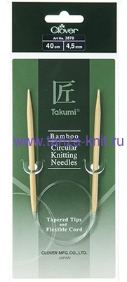 CLOVER Спицы круговые Takumi, бамбук, 40 см № 4,5