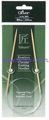 CLOVER Спицы круговые Takumi, бамбук, 80 см № 3