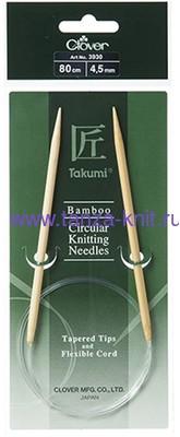 CLOVER Спицы круговые Takumi, бамбук, 80 см № 4.5